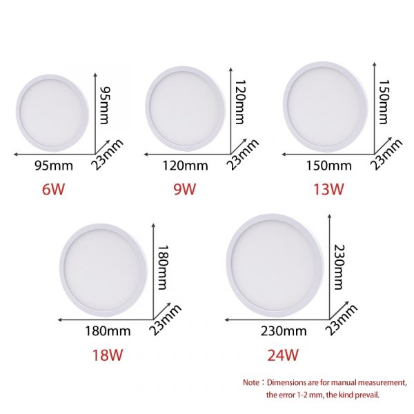 High brightness LED Circular Panel Light 6W 9W 13W 18W 24W Surface Mounted led ceiling light AC 85-265V lampada led lamp