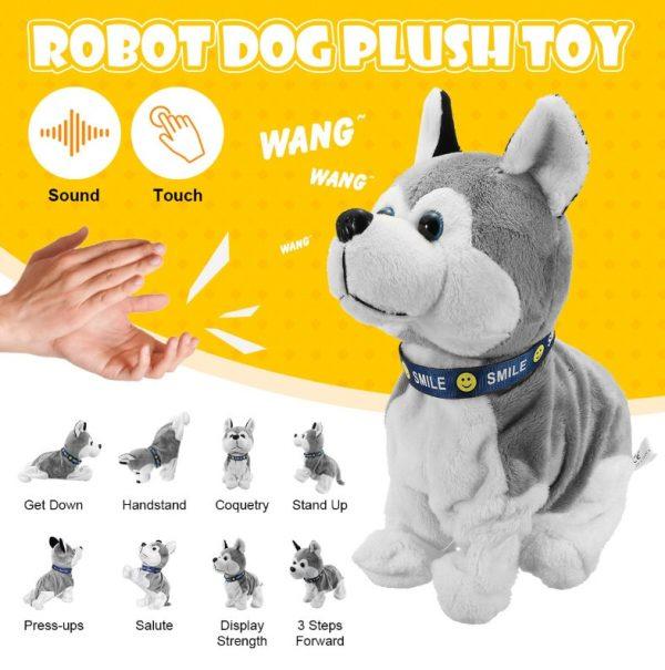 Jouet interactif électronique pour chiens, contrôle du son, Robot, chiot, animaux domestiques, aboiement, 8 mouvements, jouets en peluche pour enfants, cadeaux