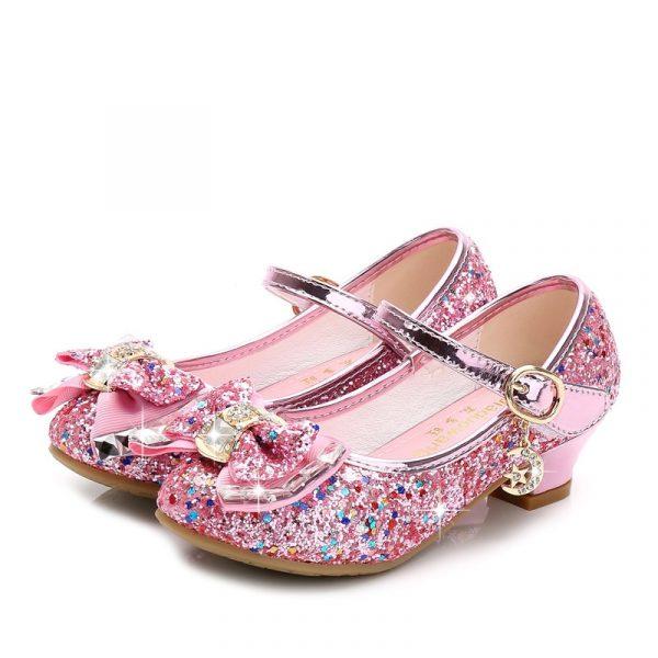 Chaussures de princesse en cuir pour filles,décontracté à paillettes, à talons hauts, avec nœud papillon, couleur bleu rose et argent,