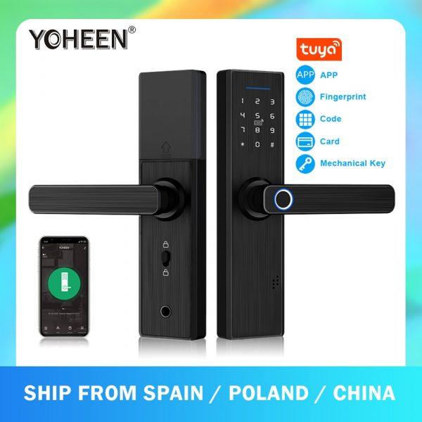 YOHEEN Wifi Electronic Smart Door Lock With Tuya App, Security Biometric Fingerprint Lock Password RFID Card