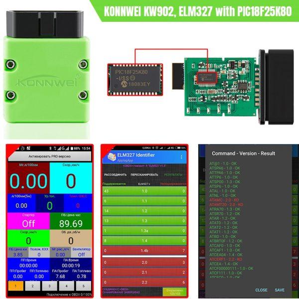 KONNWEI ELM327 V1.5 OBD2 Scanner KW902 Bluetooth Autoscanner PIC18f25k80 MINI ELM 327 OBDII KW902 Code Reader for Android Phone