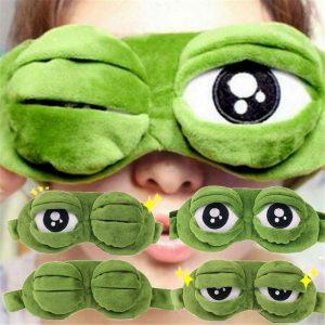 Masque pour les yeux 3D en peluche, humoristique et créatif, couverture pour les yeux, dessin animé, doux, vert