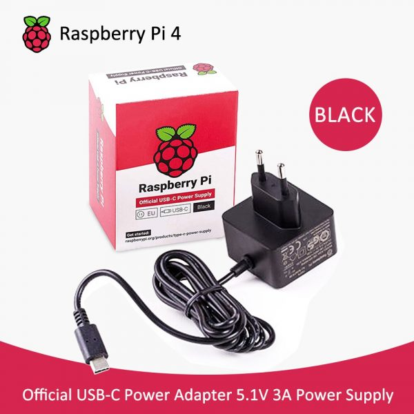 Alimentation électrique officielle raspberry pi 4, adaptateur 5.1V 3a EU/US, recommandé pour Raspberry pi 4b