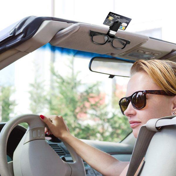 Vexverm Car Glasses Holder Portable Ticket Card Clamp Car Sun Visor Sunglasses Clip ABS Eyeglasses Case Auto Accessories