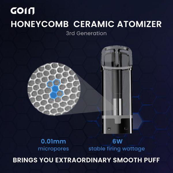 GOIN – Cigarette électronique G3, Vape dosettes en acier inoxydable avec atomiseur en céramique nid d'abeille