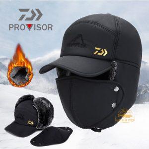 DAIWA – chapeaux de bombardier thermique pour homme et femme, Protection faciale, coupe-vent, casquette de Ski, en velours épais, pour Couple, 2020