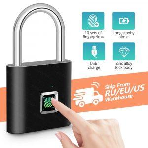 KERUI étanche USB charge serrure d'empreintes digitales cadenas intelligent serrure d'empreintes digitales 0.1sec déverrouiller Portable Anti-vol serrure d'empreintes digitales