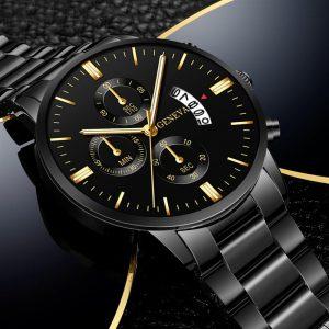 2020 Fashion Hot Style Trend Men's Stainless Steel Luxury Watch Calendar Quartz Watch Professional Casual Watch Men