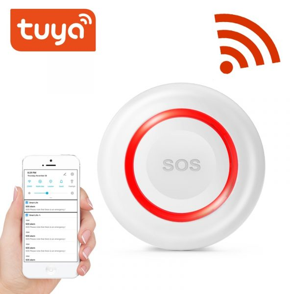 TUYA WiFi SOS Button Wireless SOS Emergency Button Alarm Home Burglar Alarm Sensor 2.4G SOS Senspr Panic Button Sos