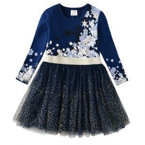 Robe princesse à manches longues pour petite fille, vêtements de fête avec étoile à paillettes, pour enfant, pour automne et hiver