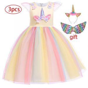 Robe de soirée d'anniversaire pour enfants, tenue licorne arc-en-ciel, motif floral, pour filles de 3 à 12 ans