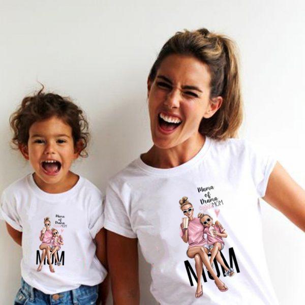 T-shirt d'été blanc pour mère et fille, vêtements de famille, amusant, Kawaii