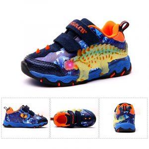 Dinoskulls 3-8 Garçons Chaussures Dinosaure LED Espadrilles Rougeoyantes Printemps Automne Enfants Sport 3D T-rex Mode Enfants Chaussures En Cuir Véritable