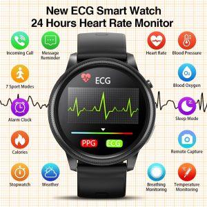 Montre connectée ECG PPG pour hommes et femmes, moniteur d'activité physique, de fréquence cardiaque 24 h, de température, de calories, alarme, 2021
