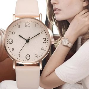 New Women Luxury Quartz Alloy Watch Ladies Fashion Stainless Steel Dial Casual Bracele Watch Leather Wristwatch Zegarek Damski
