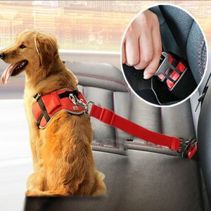 Adjustable Dog Cat Car Safety Belt Pet Seat Vehicle Seat Belt Harness Dog Lead Clip Pet Supplies Safety Lever Traction Collar