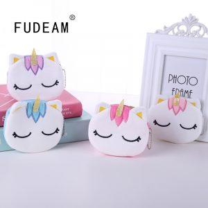 FUDEAM – porte-monnaie en peluche, licorne de dessin animé, pour femmes, mignon, ovale, fermeture éclair, pour enfants, porte-cartes, câble USB, porte-clé