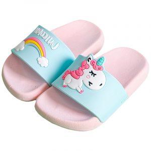 Suihyung – pantoufles licorne d'été pour enfants, pour garçons et filles, pantoufles d'intérieur arc-en-ciel antidérapantes, sandales de plage, chaussures de maison pour tout-petits, tongs pour bébés