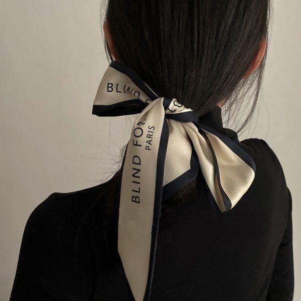 Luna & Dolphin – écharpe longue étroite pour femmes, 100x6cm, Chic français doux élégant en mousseline de soie, cravate lettre imprimée, sac ruban bandeau ras du cou