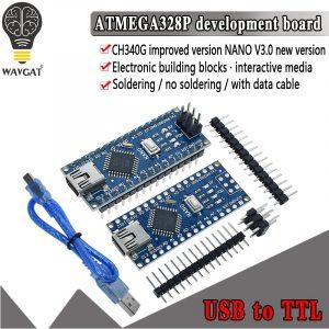 Contrôleur compatible carte WAVGAT, promotion pour Arduino Nano 3.0 Atmega328, module, développement, sans USB V3.0, 1 pièce