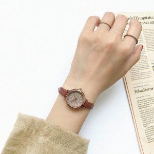 Retro Brown Women Watches Qualities Small Ladies Wristwatches Vintage Leather Bracelet Watch 2019 Fashion Brand Female Clock