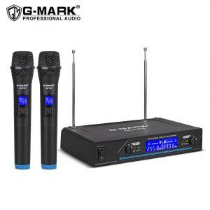 G-MARK G210V Microphone sans fil 2 canaux VHF professionnel portable micro pour la fête karaoké église spectacle réunion