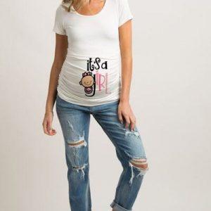 T-shirt maternité humoristique pour femme enceinte, Haut à col rond, avec des lettres et mots, transparent 2020