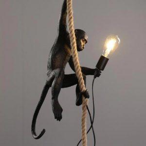 Resin Gold Black White Monkey Lamp Animal Lighting Loft Hemp Rope Pendant Lamp Luminaires Bar Cafe Includes E27 Light Fixtures