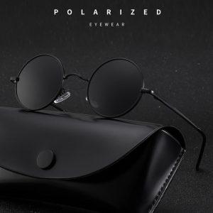 Lunettes de soleil rondes polarisées de styliste pour hommes et femmes, rétro, monture métallique, lunettes de conduite UV400
