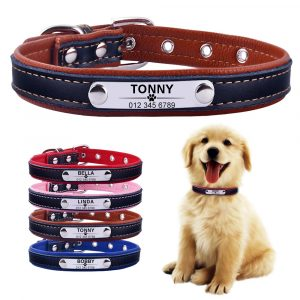 AiruiDog Adjustable Personalized Dog Collar Leather Puppy ID Name Custom Engraved XS-L