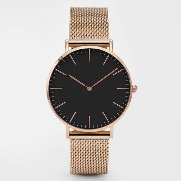 Fashion Women Watches Ultra Thin Stainless Steel Mesh Belt Quartz Wrist Watch Ladies Dress Watch Classic Rose Gold Clock Casual