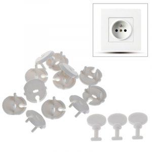 Kit de protecteur de sécurité de prise électrique pour bébé et enfant,produit de protection de 3 pièces à clés, norme française, 15 pièces,