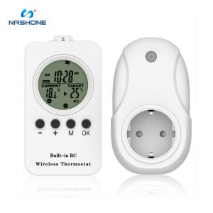 Nashone Thermostat 220v Temperature Controller Heating socket timer, LCD Wireless Remote Controller Adjustable Heating Cooling
