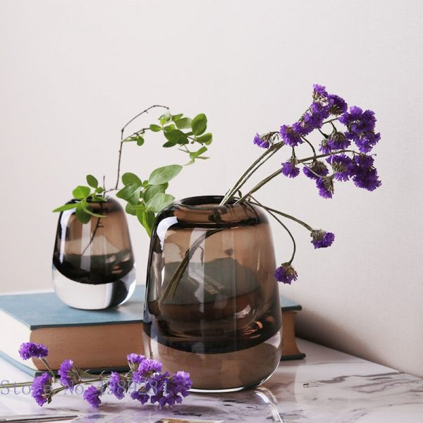 Clear Glass Vase Stained Glass Flower Arrangement Flower Vase Modern Home Decoration Wedding Accessories Vases Household