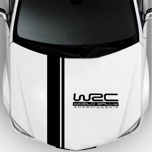 Fashion WRC Stripe Car Covers Vinyl Racing Sports Decal Head Car Sticker Wrap Vinyl Stickers For Car Head Decoration
