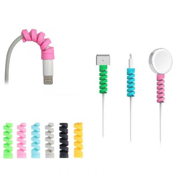 Protecteur de câble en Silicone, livraison gratuite, enrouleur de bobine de fil, housse d'organisation pour Apple iphone chargeur de câble USB