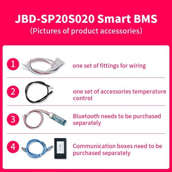 JBD – batterie Lithium intelligente Bms 17S 20S, 60V 30a 40a 50a 60a, égalisation sans fil, Communication Uart, RS485 Li-Ion Lifepo4