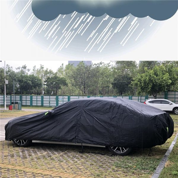 Universal SUV/Sedan Full Car Covers Outdoor Waterproof Sun Rain Snow Protection UV Car Zipper Design Black Car Case Cover S-XXL
