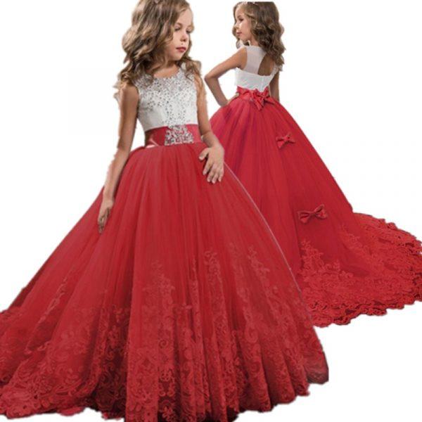 Robe brodée en dentelle rouge pour filles et adolescentes, tenue de soirée, noël ou anniversaire, motifs floraux, vêtements de 6 à 14 ans