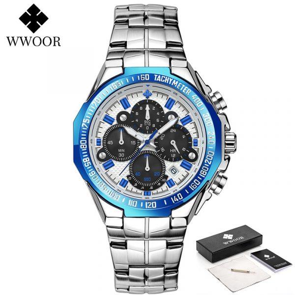 WWOOR Watches Men Top Brand Luxury Black Sports Chronograph Clock Man Fashion Big Dial Quartz Wrist Watch Relogio Masculino 2021
