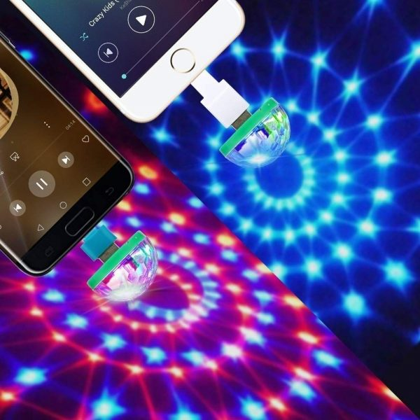 Portable Cell phone Stage lights Mini RGB Projection lamp Party DJ Disco ball Light Indoor Lamps Club LED Magic Effect projector