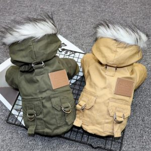 Pet Cats and Dogs Winter Warm Down Jacket Jacket Medium and Small Dog Chihuahua Hooded Clothes Lightweight Hoodie