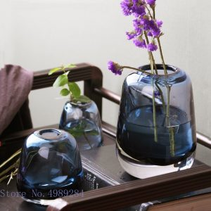 Clear Glass Vase Stained Glass Flower Arrangement Flower Vase Modern Home Decoration Wedding Accessories Vases Household