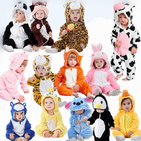 Bébé garçon et filles barboteuses animaux dessin animé enfants vêtements nouveau-né bébé combinaison chaude printemps automne hiver pour garçon snowsuit