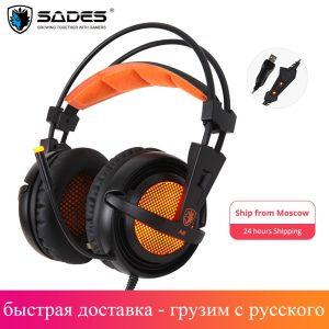 SADES — Ecouteurs de gamer, casque d'écoute Gaming A6, 7.1 son stéréo, microphone USB respirant, lumière LED, PC, ordinateur