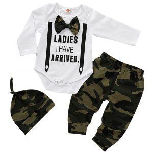 Ensemble 3 pièces pour nouveau-né garçon, haut en coton, pantalon Long, chapeau, joli nœud papillon, vêtements pour enfants de 0 à 18 mois, D30
