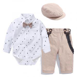 Costume de jeune homme pour petit garçon,ensemble body + pantalon strié, nœud et chapeau, tenue d'été type barboteuse pour enfant en bas âge, vêtements de bébé,