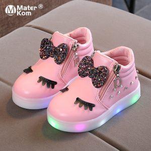 """Baskets """"Krasovki"""" à LED pour filles, taille 21 à 30, chaussures lumineuses, pour enfants, avec ruban de princesse"""