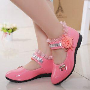 Chaussures de princesse en cuir PU pour filles,à porter avec robe de mariage, avec perles, sandales élégantes, nouveaux, pour enfants, 2020,